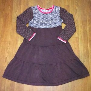 Hanna Andersson brown sweater twirly dress 130
